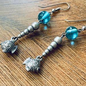 Super Cute Beaded Dangle Earrings With Fish